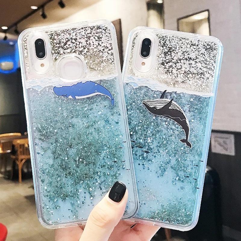 3D Whale Dolphin Clear Glitter Star For Huawei P10 P20 lite Nova 2S Honor 9 10 V10 7C 7X P Smart Y9 2018 Liquid Quicksand Cases (1)