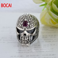 925 sterling silver jewelry inlaid with Silver Skull retro red corundum men's ring 040290w