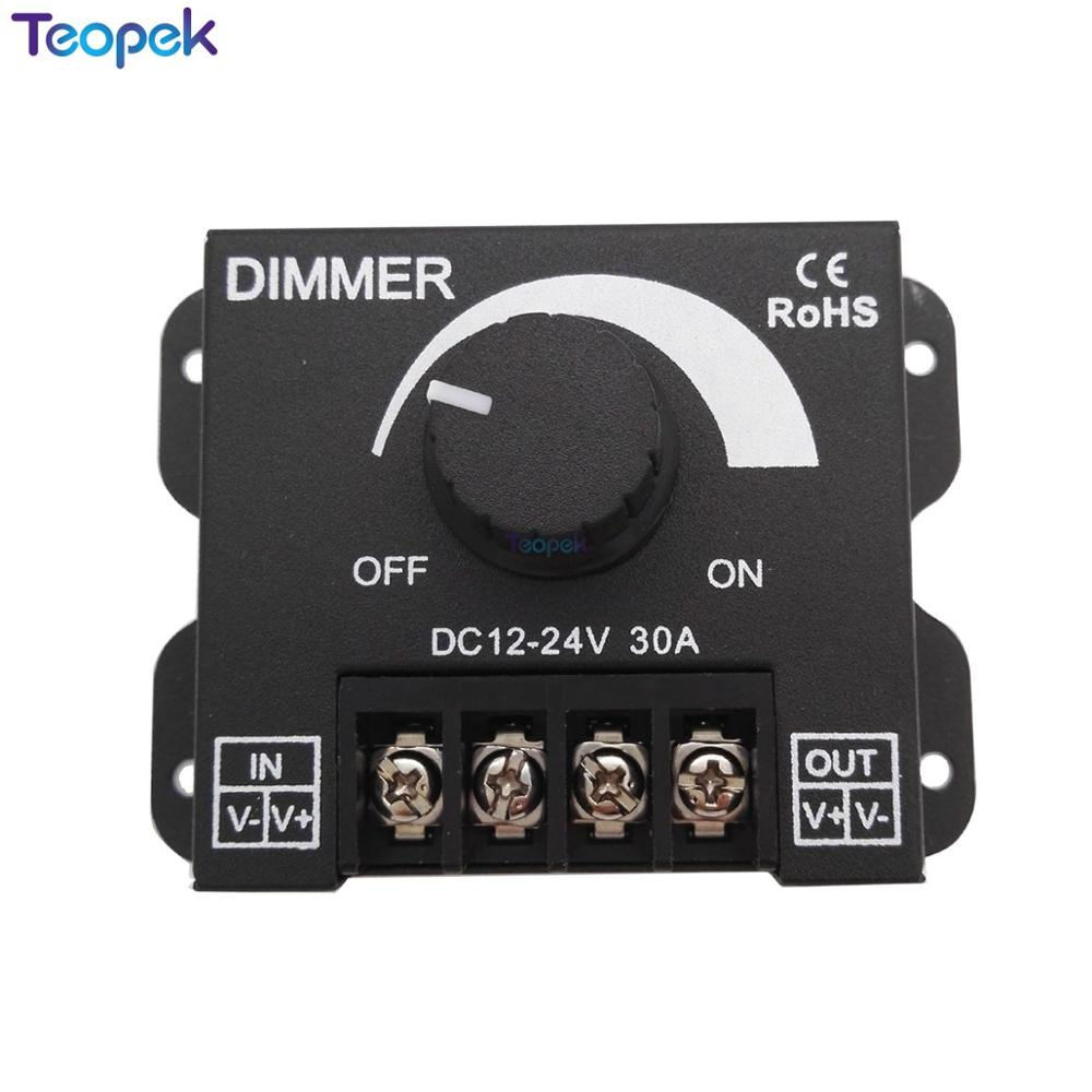 DC 12V 24V 30A Balck LED Dimmer Switch Brightness Controller For Single Color 5050 3528 5630 Led Lamp Strip Light