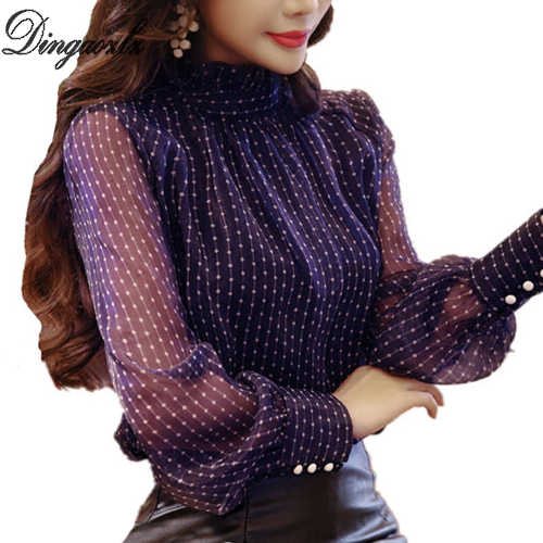 Dingaozlz エレガントな韓国ファッション服カジュアルシフォンシャツ長袖ボディスーツプリント女性ブラウストップス