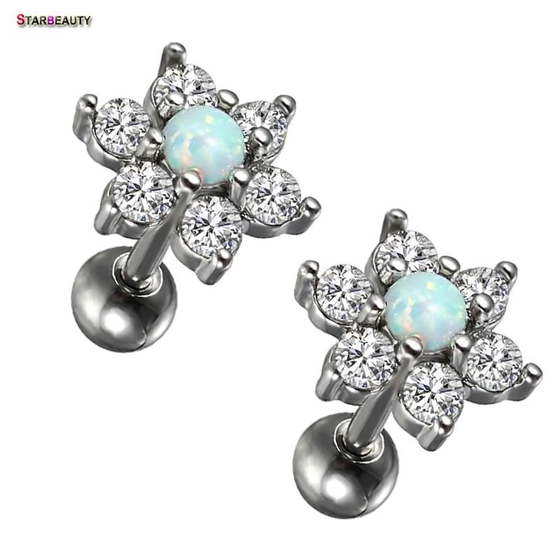 2 pcs/lot Luxury Opal Piercing 16G Trendy Flower AAA Zircon Stud Earrings Nice Ear Helix Piercing Body Jewelry Pircing Gift