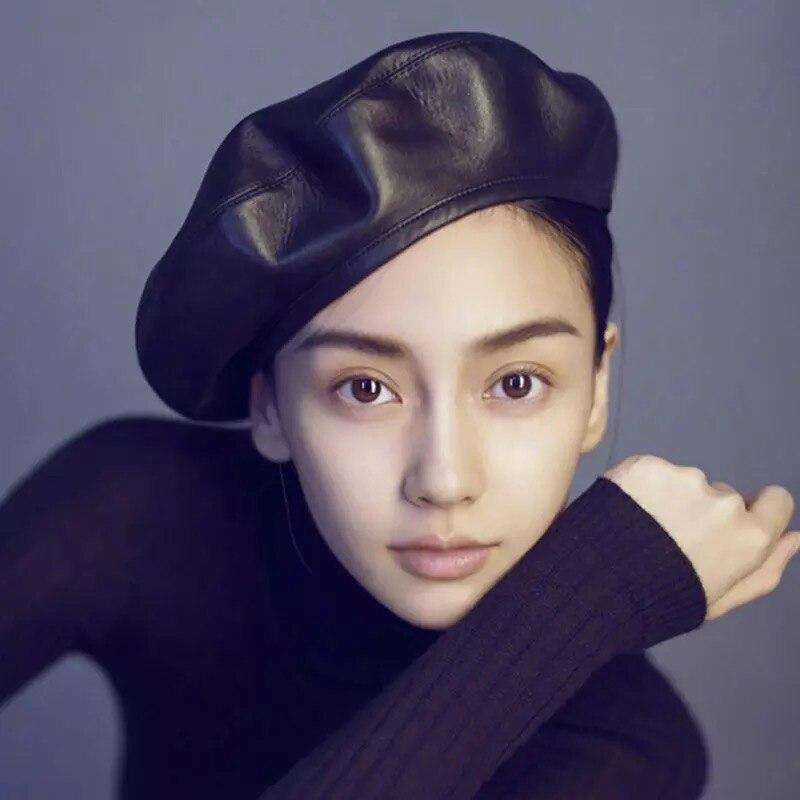 Fashion Korean Style Berets Women Black Red Pu Leather Beret Hat For Women Spring Autumn Flat Cap Gorras Female Retro Beanie