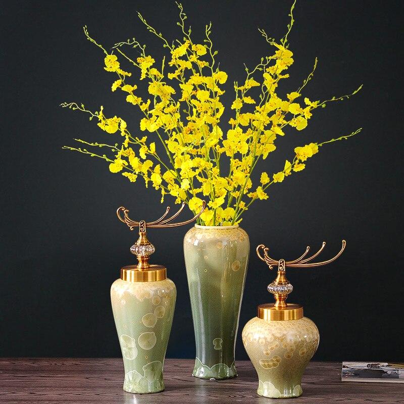 Vase ornements trois pièces ameublement décorations fleurs danse orchidée fleur simulation suite salon
