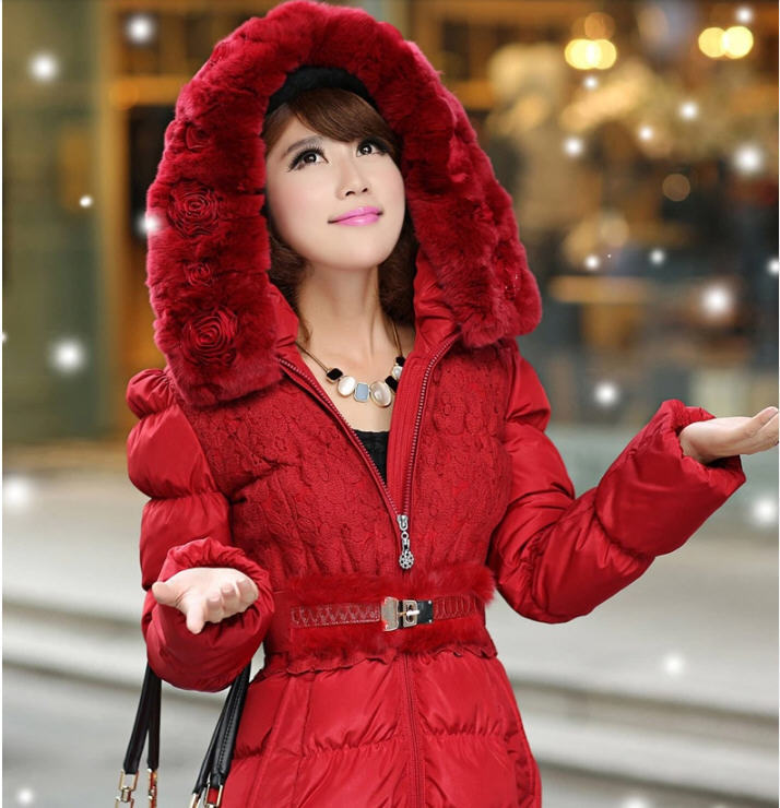 2014 Luxury British Style Women Winter X-Long Rabbit Fur Collar Down Jacket Woman Thick Hooded Coat With Belt Free Shipping Q799 2017 winter new clothes to overcome the coat of women in the long reed rabbit hair fur fur coat fox raccoon fur collar