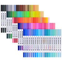 Dual Tip Brush Marker Pens Tanmit 0 4 Fineliners Brush Highlighter Pen Set Of 100 For