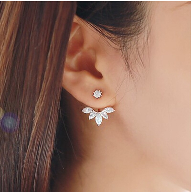 Spanking ear jacket jewelery earrings for women-sided leaf earrings ear boucle