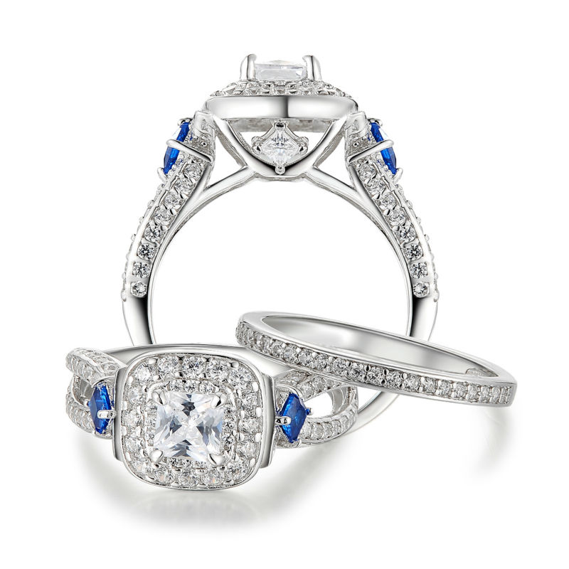 Newshe 1 2 Ct Special Blue Side Stones Solid 925 Sterling