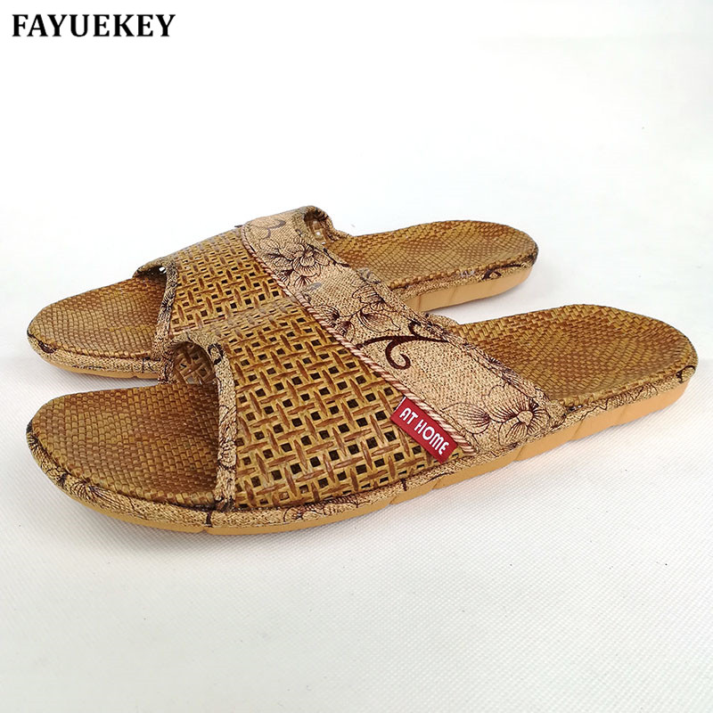 FAYUEKEY 2019 Summer Home Linen Breathable Slippers Men Indoor Floor Beach Male Flax Sandals Slides Flat Shoes