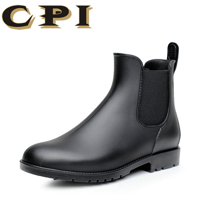 CPI Men rubber rain boots fashion chelsea botas hombre casual slip-on waterproof ankle boots moccasins zapatos masculino GG-12 ...