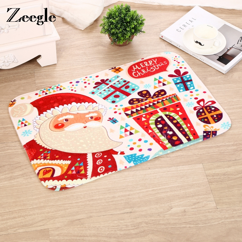 Zeegle Merry Christmas Mat Entrance Door Mats Non-slip Kids Bedroom Area Rug Bedside Rug Foot Pad Absorbent Bath Mats Home Decor image