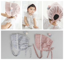 Yundfly Fashion Kawaii Girls Fabric Hat with Fur Ball Newborn Baby Headdress Caps Beanie Photography Props