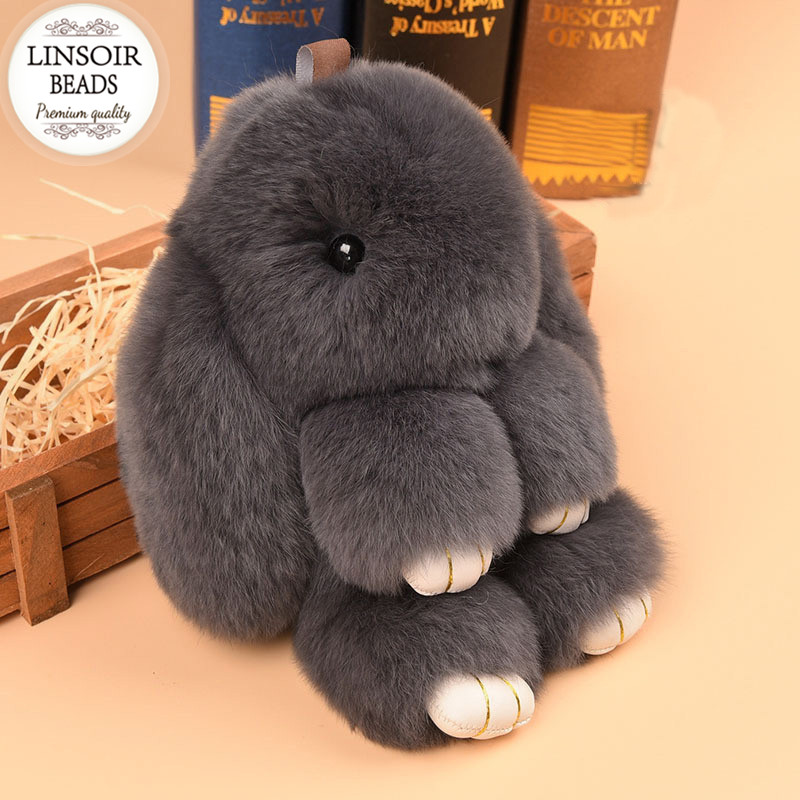 LINSOIR 2017 Cute Fluffy Bunny Key Chain Fur Pom Poms Rabbit Keychain Women Toy Doll Bag
