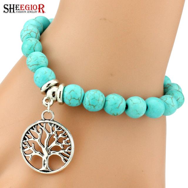 Love vintage charm bracelet femme Bohemian turquoise bracelets & bangles pulseras mujer pendants bracelets for women men jewelry