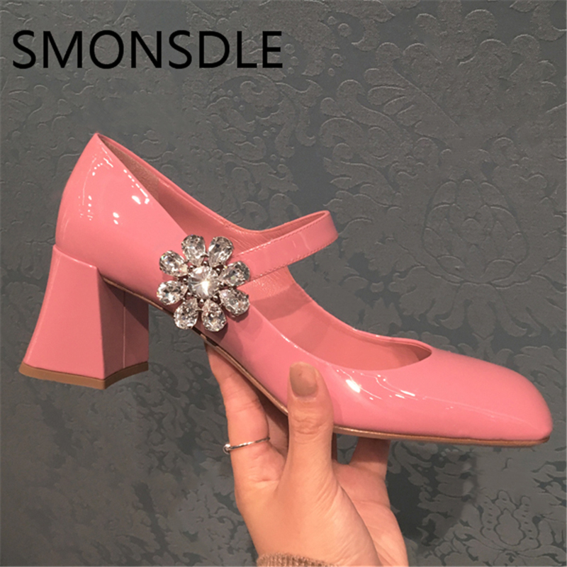 2018 Spring Summer Real Leather Mary Janes Women Pumps Black Pink Round Toe Crystal Flower Buckle Strap Lady Pumps Shoes Woman women pumps mary janes med square heel round toe office career buckle strap lady shallow shoes rubber sole comfortable insole