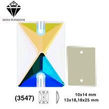 10X14mm / 13X18mm / 18X25mm 2018New prodotto di alta qualità vetro piano doppio foro strass cucire rettangolo ABcolor accessori fai da te