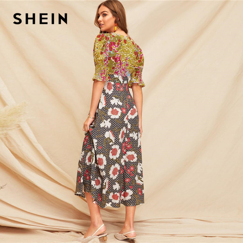 Image 2 - SHEIN Boho Multicolor Shirred Cuff Mixed Print Fit and Flare  Summer Long Dress Women Deep V Neck Puff Sleeve A Line Sexy  DressesDresses