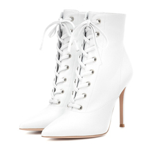 цены Women's White Boots Winter Shoes Stilettos High Heels Fashion Ankle Boots Pointed Toe Sexy Shoes Woman Lace Up Pumps TL-A0167