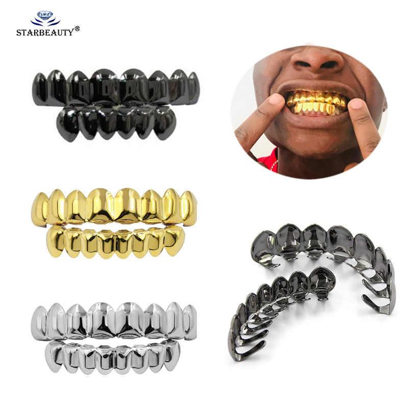 1 ชุดใหม่ Hip Hop ฟัน Grillz ชุดด้านบนด้านล่างปากฟันแฟชั่นที่ถอดออกได้ Dental Grills เครื่องประดับ
