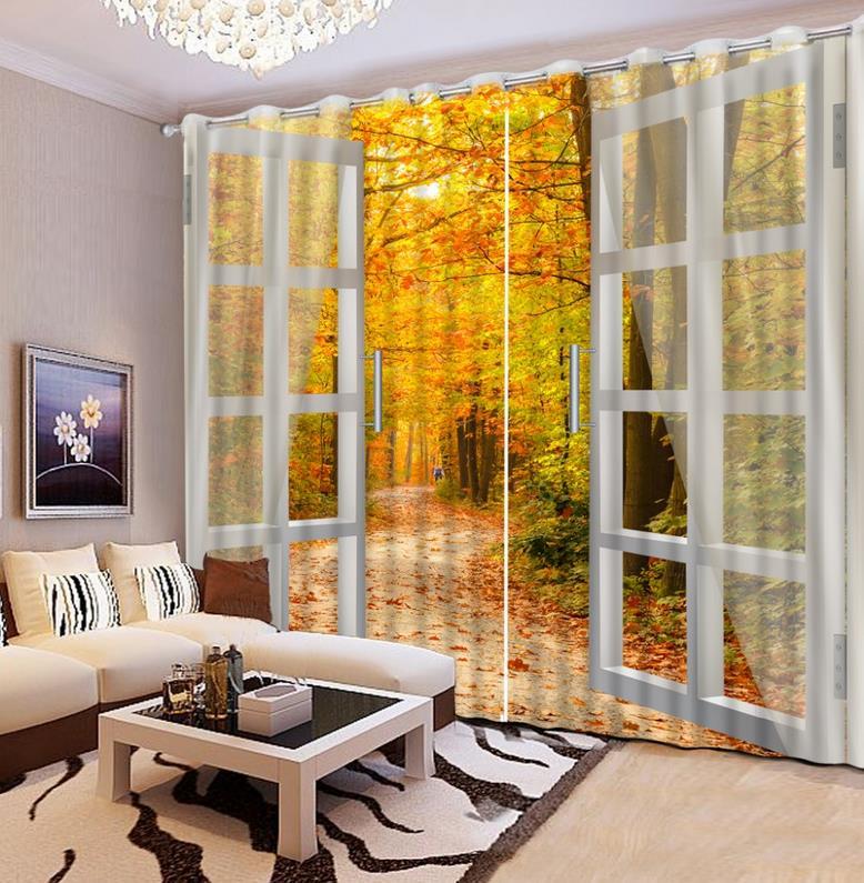 Moderne paysage fenêtre rideau belle automne jaune pure 3D rideaux peints rideau pour chambre et salon ou hôtel