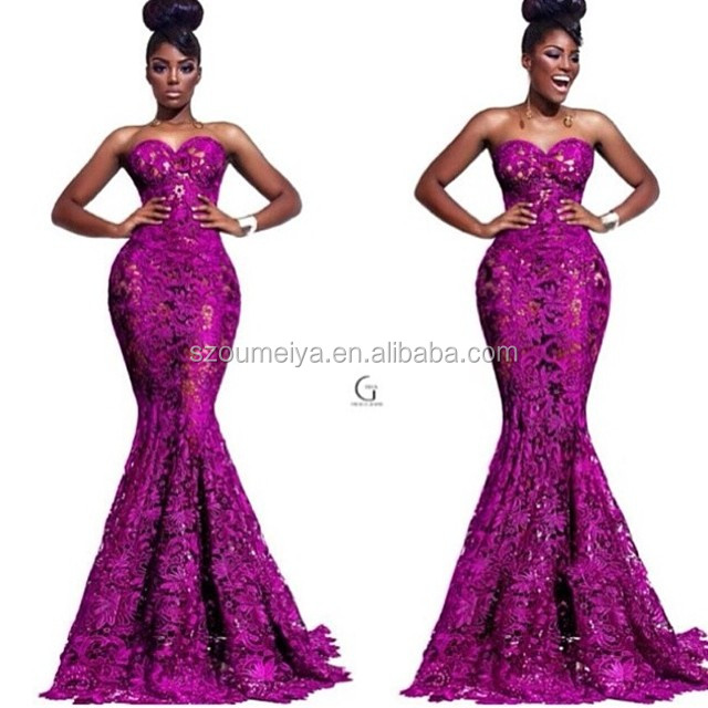 ONE158 Sexy Cut Mermaid Purple and Nude Long Lace Evening Dress-in ... ec6953c96e39
