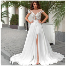 SoDigne Short Sleeves Wedding Dress 2018 Beach Bridal Gown Chiffon Lace Appliques Dresses White/Ivory Romantic Buttons
