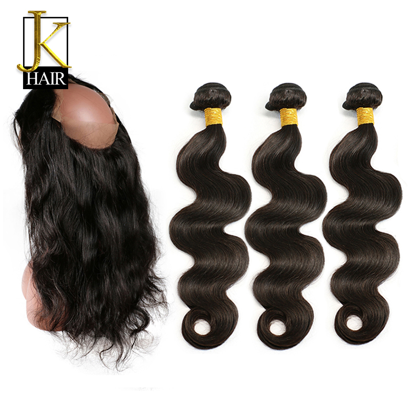 360 Lace Frontal Closure with Bundles Brazilian Body Wave Human Hair 360 Frontal with Baby Hair