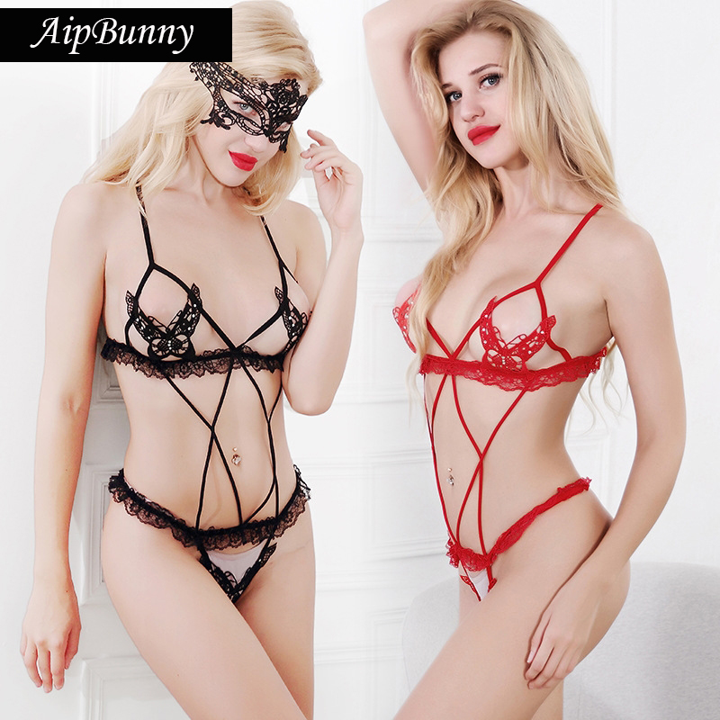 Buy AipBunny Butterfly Open Bra Exotic Panties Ruffle Lace Crotchless Mini Briefs G String Thong Lingerie Sexy Hot Erotic Sleep Wear