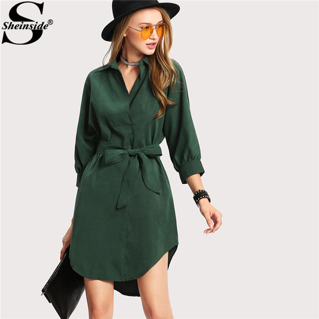Sheinside 2018 зимнее платье Зеленый отложной воротник 3/4 рукав Подпоясанный Асимметричный платье-рубашка Для женщин Повседневное короткое платье;
