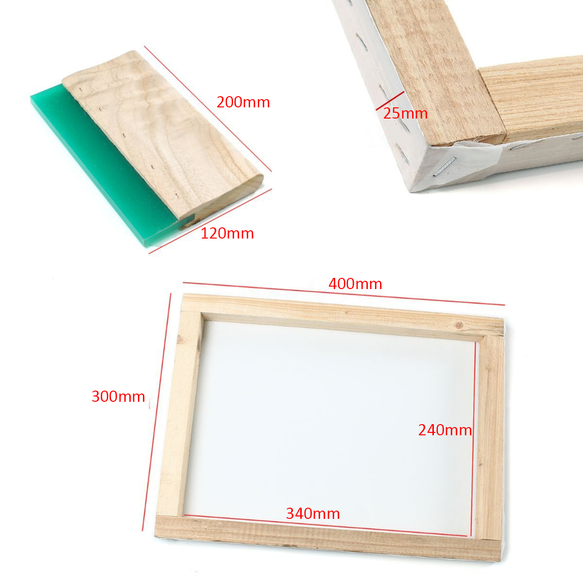 Silk Screen Printing Frame 300*400mm with Mayitr 43T Mesh & 8 Wooden Squeegee DIY Printing Blade Ink Scraper Scratch Board free shipping 3m squeegee high quality wrapping scraper with cloth pp sticker scraper car wrap tools felt scarper squeegee a02