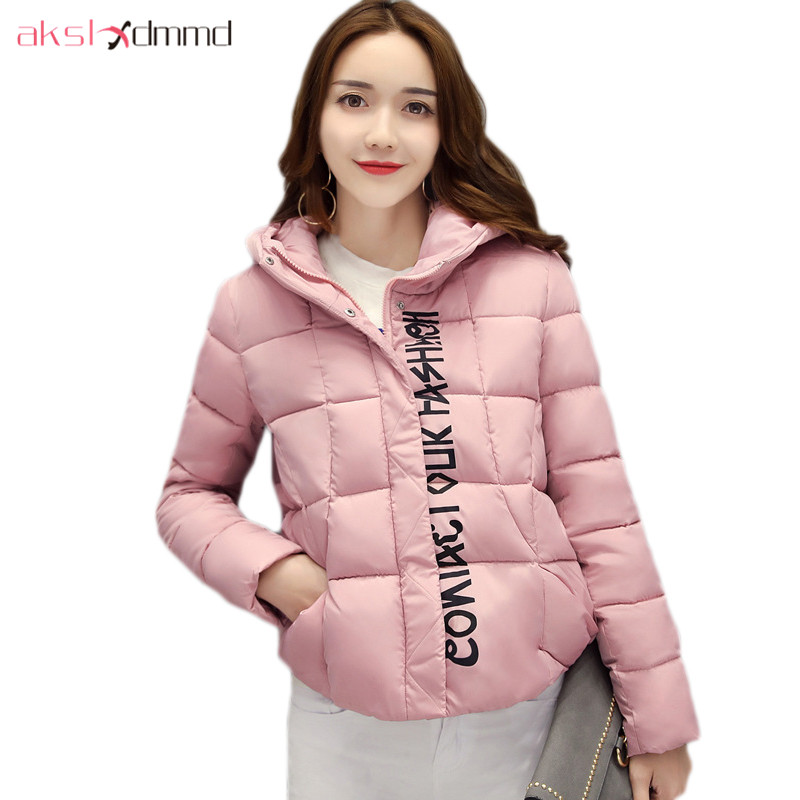 AKSLXDMMD Winter Women Jacket 2017 New Plus Size Thick Short Coat Fashion Printed Letters Hooded Short Jacket Parka Mujer LH1110 akslxdmmd parkas mujer plus size winter coats 2017 new thick padded cotton printed letters hooded winter women jacket lh1114
