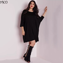 MCO Casual Oversized Batwing Plus Size Womens Dress Ultimate Easy Tunic Dresses Fashion Big Size Slouchy Women Clothing 6XL 7XL