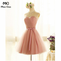 2018 A Line Homecoming dress Short 8th grade prom dresses Sweetheart Tulle Pleat Ribbons cocktail party dress Graduation Girls
