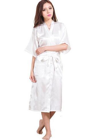 Women Silk Satin Long Wedding Bride Bridesmaid Robe Kimono Robe Feminino Bath Robe Large Size XXXL Peignoir Femme Sexy Bathrobe