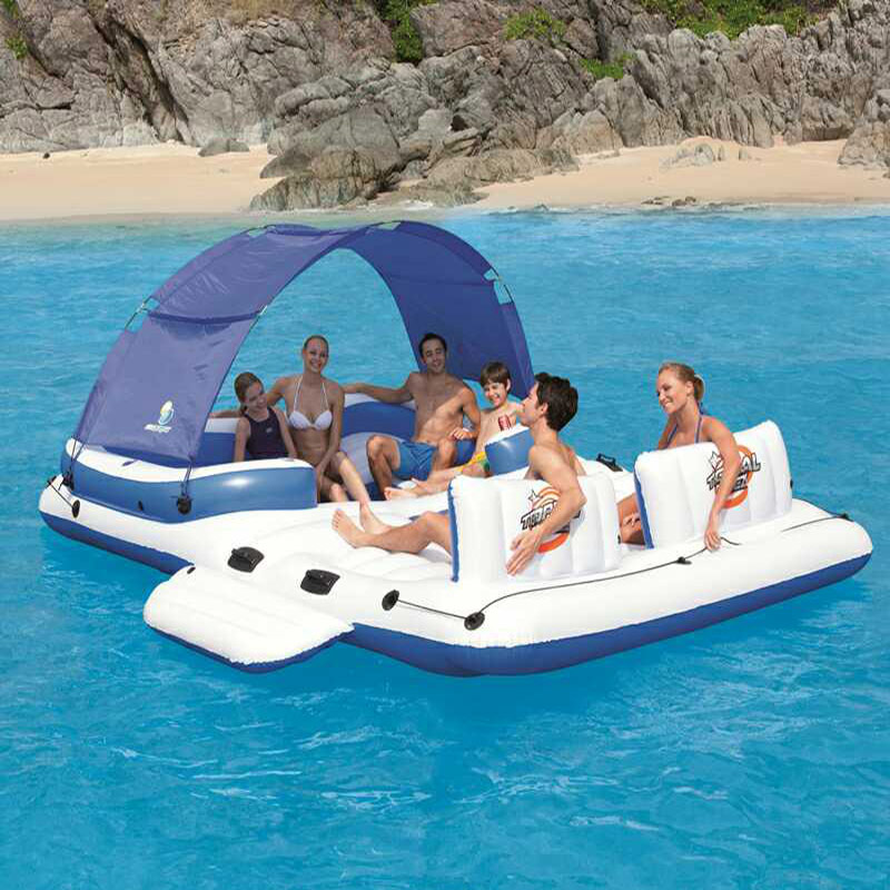 Large Inflatable In Water Chaise Boat Bed 5 6 people Viewseaborne Beach Counge Mat Row Toys Family 71 x 188cm summer inflatable floating air mattresses sun floating row swimming water bed beach mat free shipping