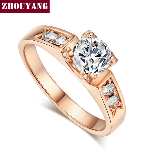 ZHOUYANG  Classical 6mm Prong Setting CZ Wedding Ring Real Rose Gold & White Gold Plated Wholesale  For Women R051