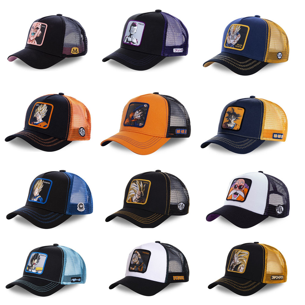 New Dragon Ball Z Mesh Hat Goku Baseball Cap High Quality Black & Yellow Curved Brim Snapback Cap Gorras Casquette Dropshipping
