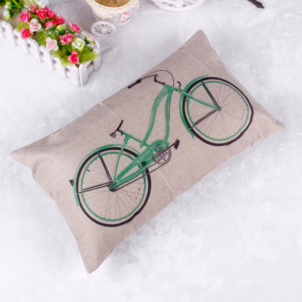 Decorative cushion covers <font><b>30x50</b></font> Bicycle Pattern <font><b>Pillow</b></font> <font><b>Case</b></font> Sofa Waist Throw Cushion Cover Home Decor jan13 image