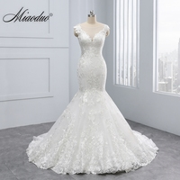 Miaoduo 2018 New Mermaid Design Vestido De Noiva Lace Appliques Button Zipper Back Scoop Wedding Dresses Beautiful Wedding Gowns