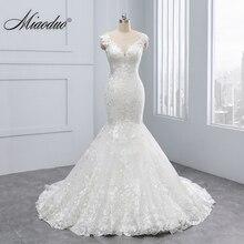 Miaoduo 2018 New Mermaid Design Vestido De Noiva Lace Appliques Button Zipper Back Scoop Wedding Dresses Beautiful Wedding Gowns