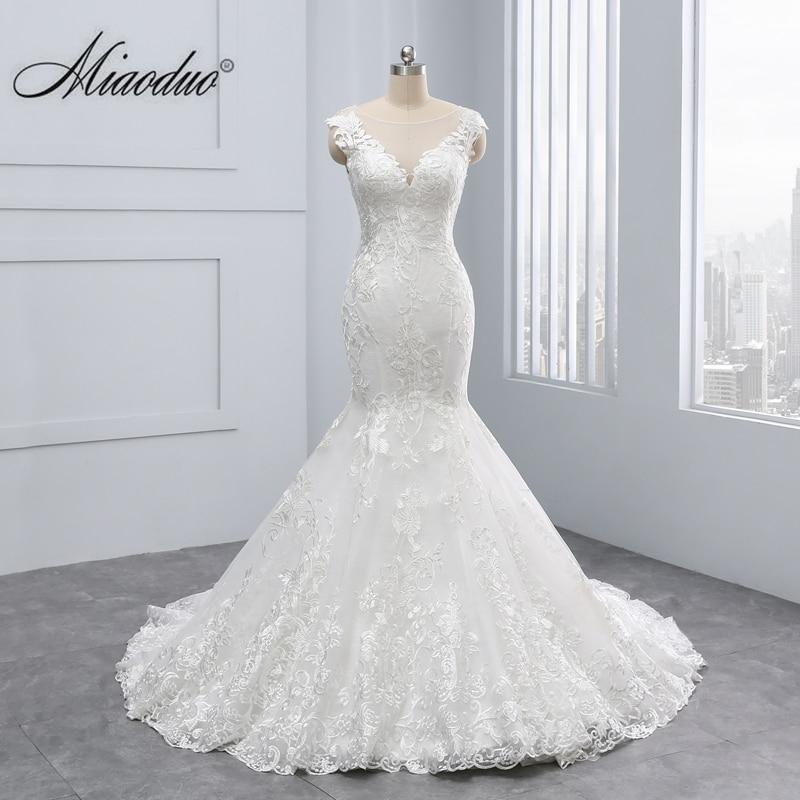 Miaoduo 2020 New Mermaid Design Vestido De Noiva Lace Appliques Button Zipper Back Scoop Wedding Dresses Beautiful Wedding Gowns