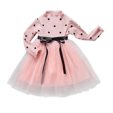 Spring Autumn Sweet Baby Girls Dress Sweater Princess Polk Dot Clothes For Party Pageant Long Sleeve