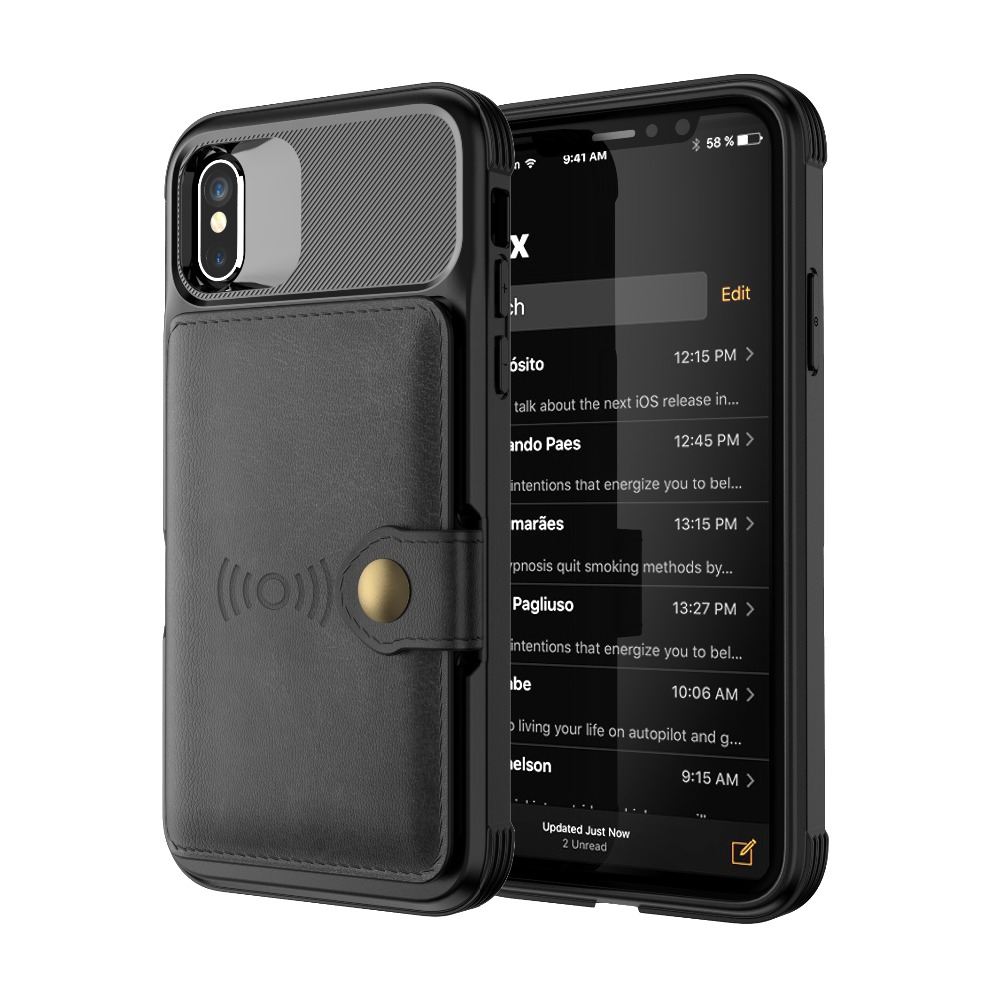 Wallet Case Cover Card Slot for iPhone X XS 5.8  iPhone Xs Max 6.8  iPhone XR 6.1 Luxury Cover Shockproof Magnetic Adsorption