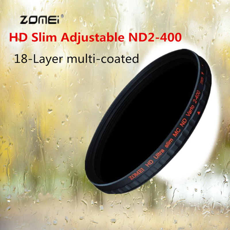 ZOMEI HD Ultra mince réglable ND filtre multi-enduit 18 couches ND2-400 Fader Variable pour Canon Nikon DSLR 52/58/67/72/77/82mm