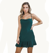 купить High Waist Spaghetti Strap Ruffles Mini Sexy Party Dress Women Fashion Plus Size Slim Solid Sleeveless Casual Summer Beach Dress дешево
