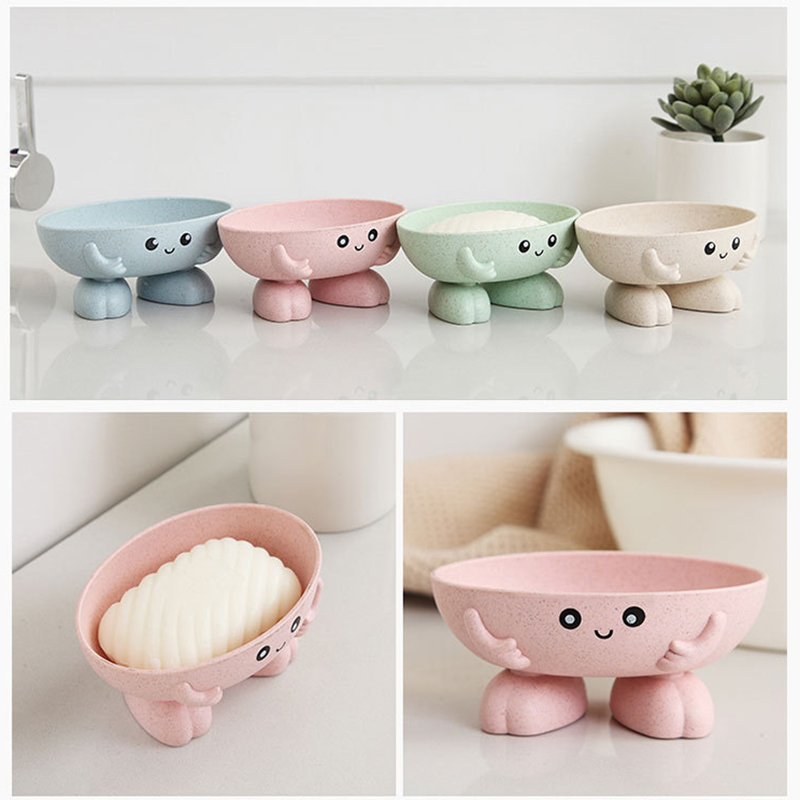 Practical Easy Clean Soap Dish Bathroom Accessories Cartoon Beer Wheat Straw Soap Box With Cover Draining