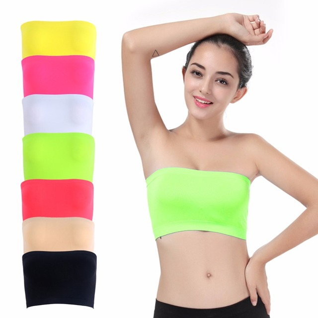 5330d8d7d47 1 PC One-Piece Seamless Elastic Strapless Bandeau Bra Tube Top Bra Womens  One Size Pure Colors