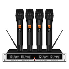 Professional UHF Wireless Microphone Four Channel Handheld Stage Karaoke
