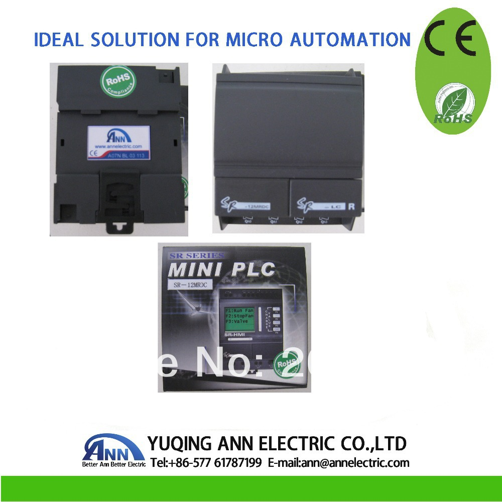Mini PLC SR-12MRAC AC110-220V, 8 point AC entrée, 4 points relais de sortie + SR-HMI + SR-DUSB câble