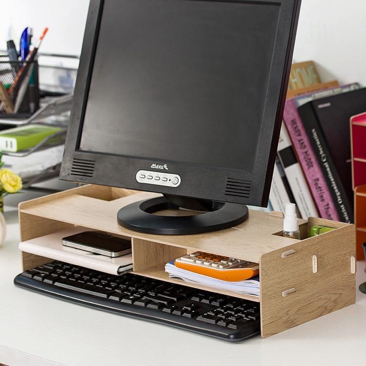 Desktop Мониторы стенд, деревянный Мониторы стояк ТВ стенд, для домашнего офиса и места для хранения клавиатуры и Мышь