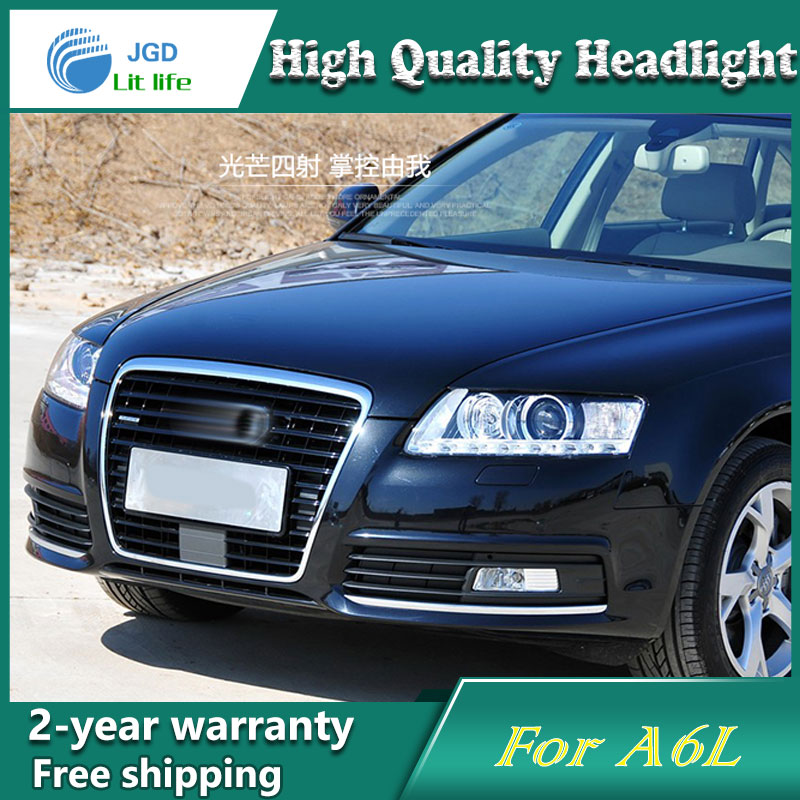 Car Styling Head Lamp case for Audi A6L 2009-2011 Headlights LED Headlight DRL Lens Double Beam Bi-Xenon HID Accessories hireno car styling for toyo ta corolla 2011 13 headlights led super bright headlight drl xenon lens high fog lam